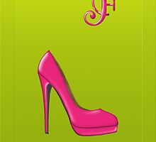 Stylish pink shoe for her, monogram F by Monartcanadian