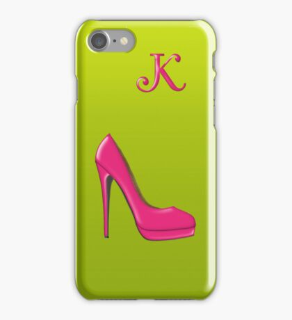 Stylish pink shoe for her, monogram K iPhone Case/Skin