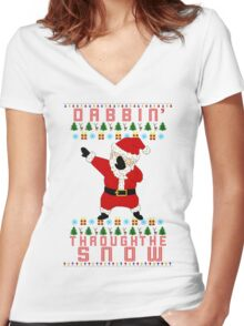 Dabbing Santa Women's Fitted V-Neck T-Shirt