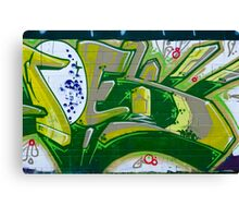 Abstract Graffiti Art fragment in Green Canvas Print
