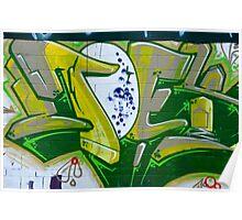 Abstract Graffiti Art fragment in Green Poster