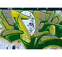 Abstract Graffiti Art fragment in Green Photographic Print