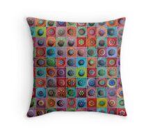 Jewel Drop Mandala Mosaic Throw Pillow