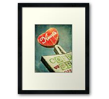 Heart's Coffee Shop Vintage Sign Framed Print