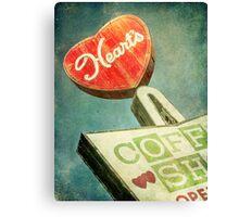 Heart's Coffee Shop Vintage Sign Canvas Print