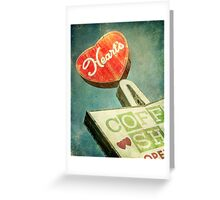 Heart's Coffee Shop Vintage Sign Greeting Card
