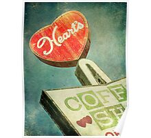 Heart's Coffee Shop Vintage Sign Poster
