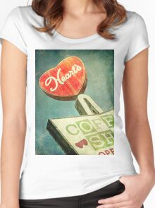 Heart's Coffee Shop Vintage Sign Women's Fitted Scoop T-Shirt