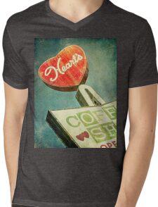 Heart's Coffee Shop Vintage Sign Mens V-Neck T-Shirt