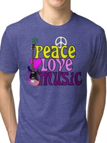 Peace love and music hippie summer of love Tri-blend T-Shirt