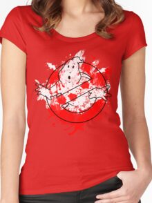 Ghostbusters Logo Paint Splatter Outline Women's Fitted Scoop T-Shirt