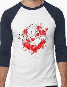Ghostbusters Logo Paint Splatter Outline Men's Baseball ¾ T-Shirt