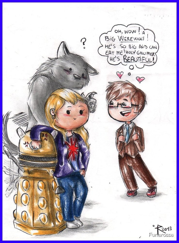 Chibi Doctor Who - Tenth, Rose and a werewolf by Furiarossa