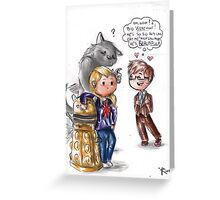 Chibi Doctor Who - Tenth, Rose and a werewolf Greeting Card