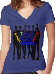 ♥♫I Love B2ST Forever Splendiferous K-Pop Clothes & Stickers♪♥ Women's Fitted V-Neck T-Shirt