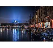 Liverpools Albert Dock at night Photographic Print