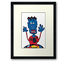 Goalkeeper, football, yellow, sport, monster, comic, children Framed Print