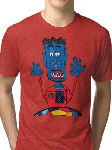 Goalkeeper, football, yellow, sport, monster, comic, children Tri-blend T-Shirt
