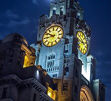 Top of the Liver Building tower in Liverpool by Paul Madden