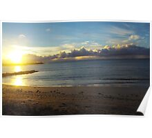 The golden sun setting at Robe, South Australia Poster