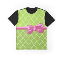 Ribbon, Bow, Moroccan Trellis - Pink White Green Graphic T-Shirt