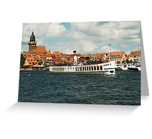 "Excursion boat ""Europa""at Waren Müritz, Mecklenburg, Germany. Greeting Card"