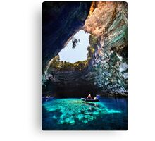 Boat ride in Melissani cave-lake Canvas Print