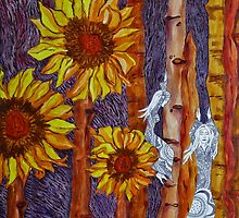 Sunflower Fairies at Sunset by Szilvia Ponyiczki