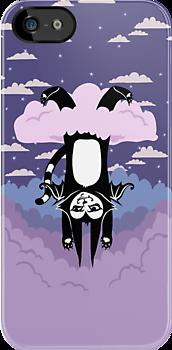 Cloud Games- Batcat Hangin' in a Raincloud by blacklilypie