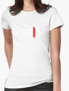 Skrillex logo - White and Red Womens Fitted T-Shirt