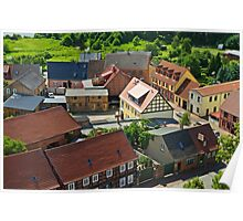 Roebel, view from St. Mary's church tower, Mecklenburg, Germany. Poster