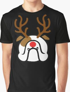 English Bulldog Holiday dog with reindeer antlers Graphic T-Shirt