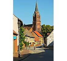 Small town of Roebel & St. Mary's church, Mecklenburg, Germany. Photographic Print