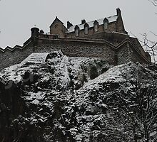 Edinburgh Castle Western Defences in the Snow by justbmac