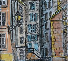 Watercolor Sketch - Genève, Old Town, Rue de Saint-Germain from Rue des Grandes.  by Igor Pozdnyakov
