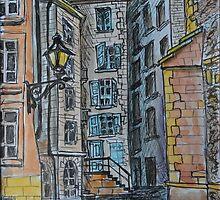 Watercolor Sketch - Genève, Old Town, Rue de Saint-Germain from Rue des Grandes.  by Igor Pozdnyakov