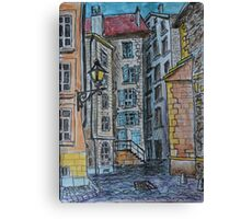 Watercolor Sketch - Genève, Old Town, Rue de Saint-Germain from Rue des Grandes.  Canvas Print