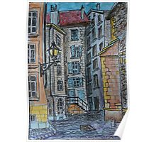 Watercolor Sketch - Genève, Old Town, Rue de Saint-Germain from Rue des Grandes.  Poster