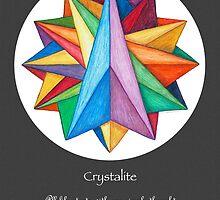 Crystalite Mandala Print - grey background w/msg by TheMandalaLady