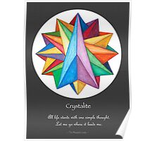 Crystalite Mandala Print - grey background w/msg Poster