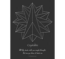 Crystalite Mandala Print - white on grey w/msg Photographic Print