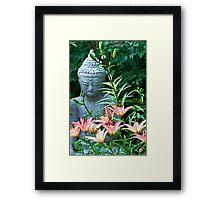 Lilies And Garden Statue Framed Print
