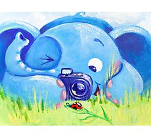 Photographer - Rondy the Elephant with photo camera Photographic Print