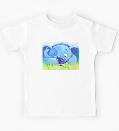 Photographer - Rondy the Elephant with photo camera Kids Tee