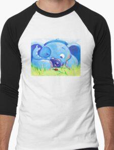 Photographer - Rondy the Elephant with photo camera Men's Baseball ¾ T-Shirt