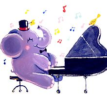 Piano Player - Rondy the Elephant playing the piano by oksancia