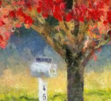 Blazing Bloody Red Dogwood By White Mailbox Sticker