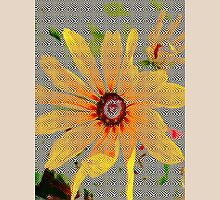 Yellow sunflower design vertical view Womens Fitted T-Shirt