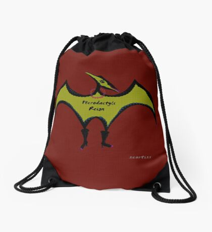 Pterodactyls Reign Red and Green Drawstring Bag