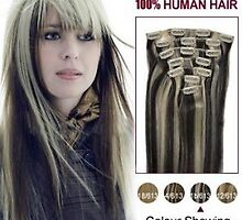 Discount Clip In Human Hair Extensions 16 Inch 1b/613 7pcs by tiffanywuok1